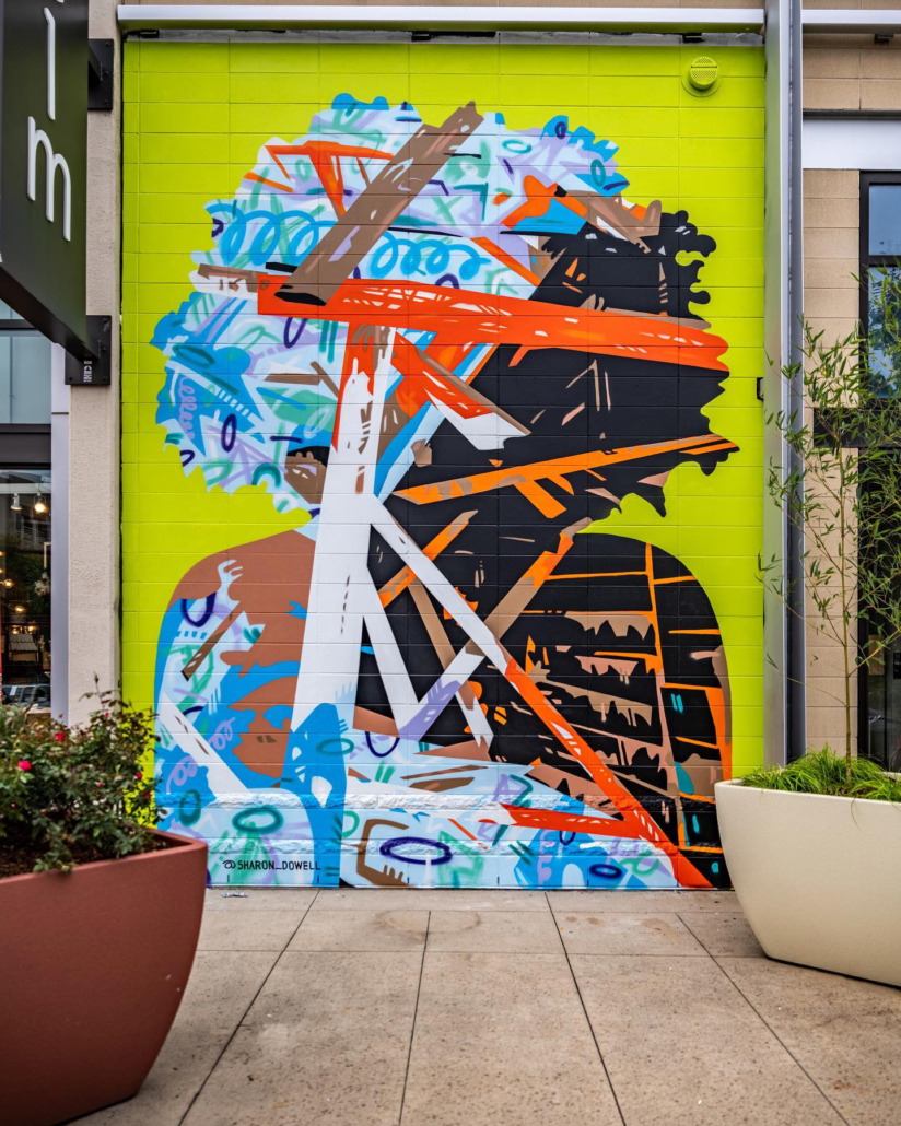 One-story, spray-painted mural of partially cool-colored & partially flesh-colored silhouette with voluminous curly hair. Open circles and other colorful organic shapes throughout. Plane broken by intersecting lines of varying widths, colors & lengths. Located on exterior wall of Charlotte's Metropolitan complex, beside West Elm.