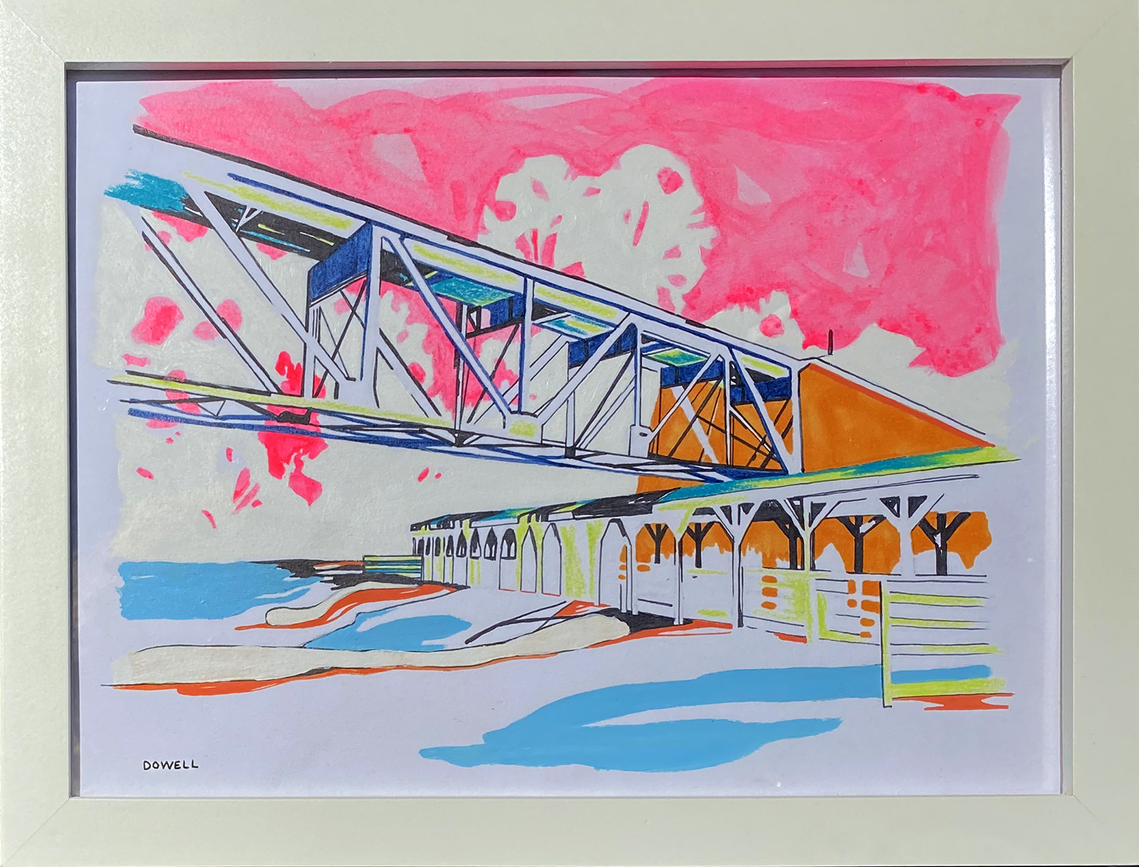 8″ x 10″ mixed media on paper. Study of bridge from ground perspective on brightly-colored background including neon pink sky, with soothing, organic shapes.