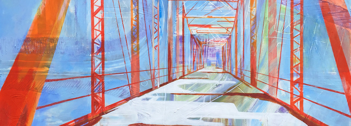 30″ x 40″ acrylic on panel. Abstract representation of Rozelle's Ferry Bridge in Charlotte. In linear perspective standing on end of bridge and looking to other end. Lines in flame reds & oranges on background of cool blues, violets & white with yellow-green highlight.