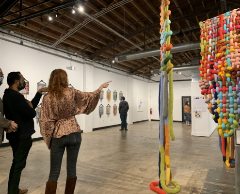 Sharon Dowell curating textile art Modified Exhibition for Gallery c3 in Charlotte, NC.