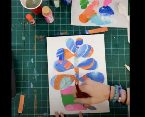 Detail of McColl Center alumna artist Sharon Dowell's Cacti Collage Mini Art Lab.
