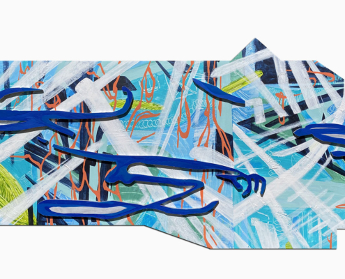 20″ x 48″ acrylic on cut wood panels of varying sizes. Polygon shape. Cobalt blue, shadowed lines in organic shapes layered over thick and thin white brush strokes, orange vine-like lines, and a cool blue background with lime green accents.