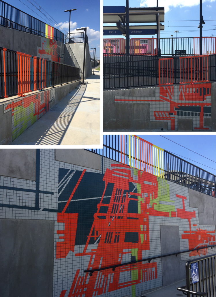 400 feet of mandarin, teal, kiwi & gray tile mosaics in varying sizes with bold, linear architectural patterns on the walking ramps of both sides of Charlotte's 25th St Station light rail platform. Handrails above each mosaic are powder coated in corresponding colors.