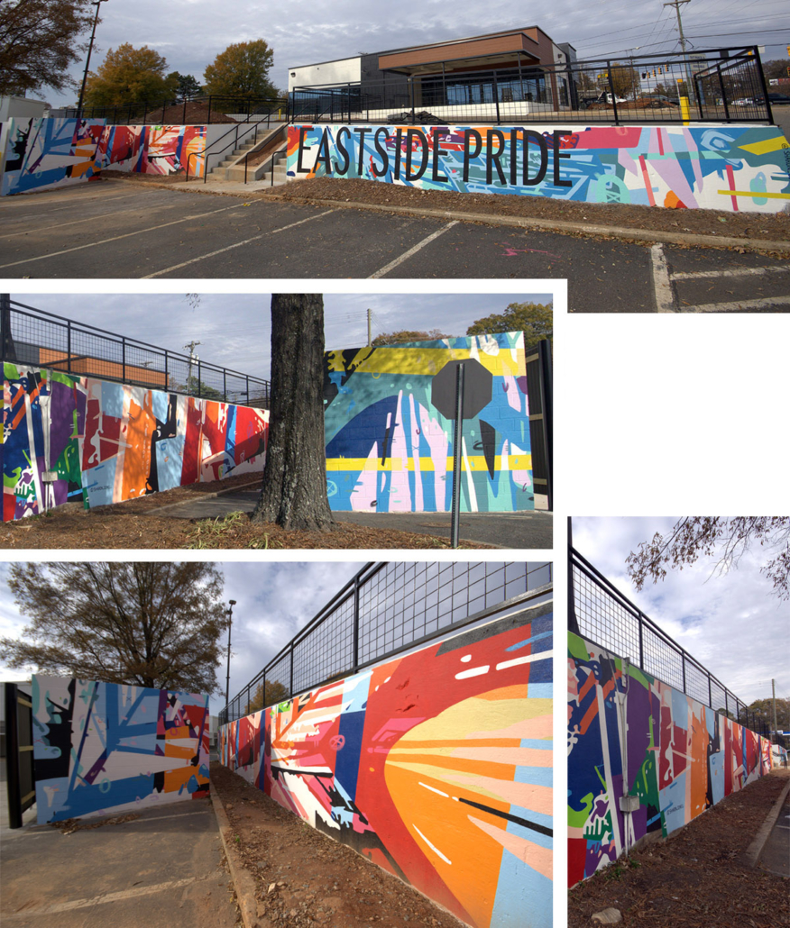 Approx 950 sq ft mural covering multiple walls in Charlotte's Eastway Crossing mall parking area. Eastside Pride painted in thin, black block letters over a busy, colorful mural of abstract geometric shapes & lines.