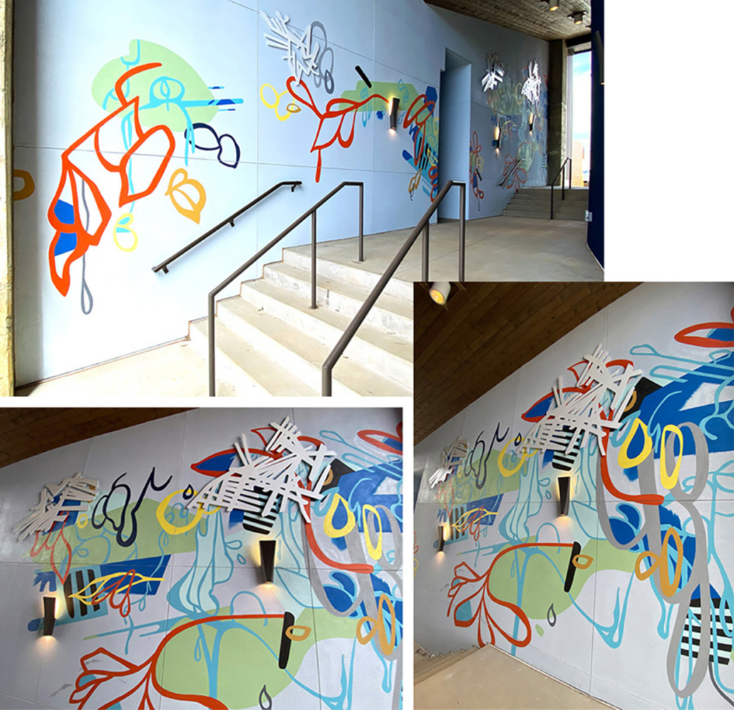 16' h x 50' w hand-painted, vibrantly-colored, energetic mural with layered leaf-like shapes & shiny aluminum embellishments on stucco breezeway wall of HUB Apartments in Charlotte's Southend.