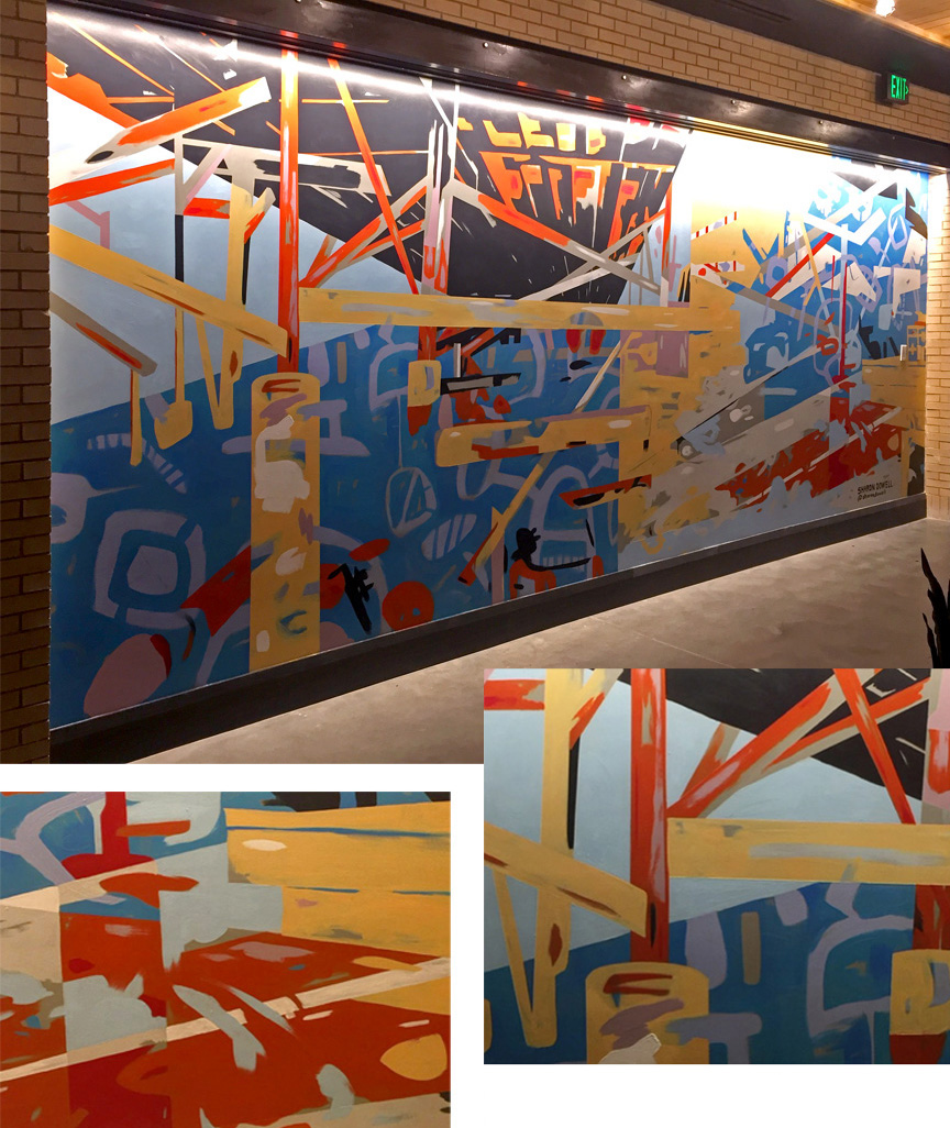 9' x 22' abstract, asymmetrical mural in 3 quadrants with linear design resembling deconstructed bridge trellis in upper left quadrant. Bold fire colors, cool blues, grays and black. In the elevator lobby of The Refinery, a luxury office building in Charlotte.