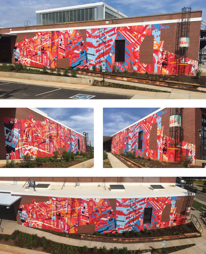 20' h x 80' w hand & spray-painted energetic, abstract mural with overlapping planes of reds, blues & oranges. Architectural lines in blues, black & white echo industrial buildings and towers of surroundings. Precise geometric shapes of exposed, unpainted red brick. Located on exterior wall of Goodyear Arts building in Charlotte's Camp North End.