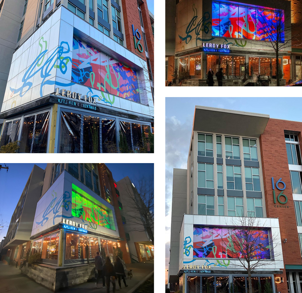 10' h x 50' w colorful, whimsical, abstract window film over slow-changing, multi-colored LED lightbox. Above Leroy Fox in Charlotte's Southend. Collaboration with Christopher Hoslton for I Heart Rail Trail 2021.
